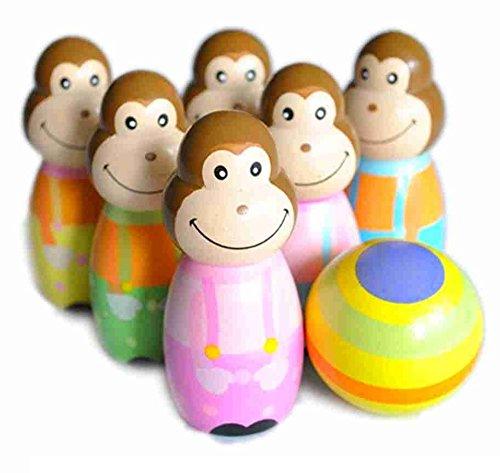 Affen-Wooden-Skittles-Bowling-Holz-Kegeln Set Kegel Affe Bowling -
