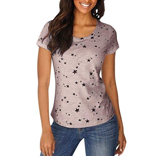 CAOQAO ❀ T-Shirt Kurzarm Oberteil Shirt LäSsige Stretch Tunika Top Damen Sommer Mode Damen Sommer Lose Kurzarm Stern Gedruckt Casual T-Shirt Bluse Tops
