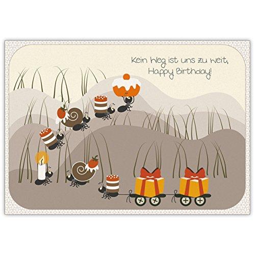 Fröhliche Geburtstagskarte mit fleißigen Ameisen: Kein Weg ist uns zu weit, Happy Birthday!