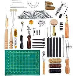 Holzsammlung 50 Piezas de Herramientas de Coser de Cuero Artesanía de Cuero Kit de Costura Manual de Bricolaje #06