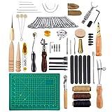 CHSEEA 50 Stück Lederbearbeitungs-Set Leder Fertigkeit Handwerk Werkzeug Set Leder