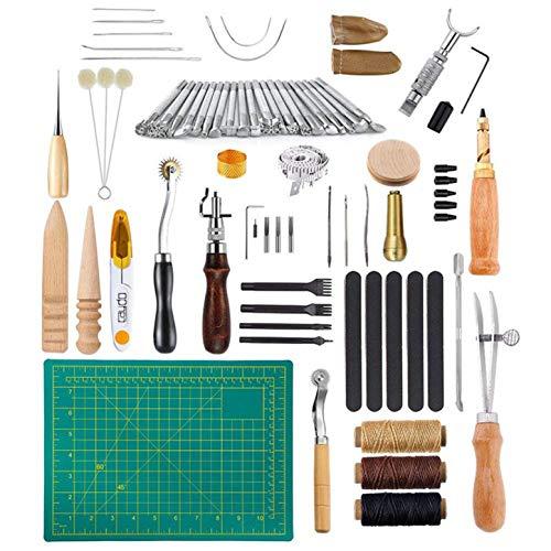 CHSEEA 50 Stück Lederbearbeitungs-Set Leder Fertigkeit Handwerk Werkzeug Set Leder Nähwerkzeuge Näh Set Schneiden Nähen Schnitzen Stanzen Lochen Leather Craft Tools Set #1