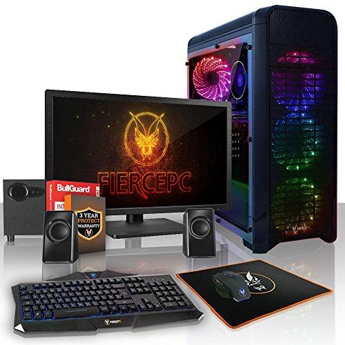 Fierce Alpha RGB Gaming PC Bundeln - Schnell 3.9GHz Quad-Core AMD Ryzen 5 2400G, 1TB HDD, 8GB 2666MHz, AMD Radeon Vega 11 Grafik, Tastatur (VK/QWERTY), Maus, 21.5-Zoll-Monitor, Lautsprecher 931264