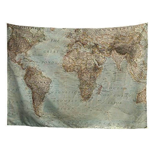 Coloranimal Gobelin Weltkarte Malen an der Wand Home Living Schlafzimmer-Dekor, Leicht, Polyester-Mischgewebe, World Map-2, 230cm x 275cm(90.55in x 108.27in)
