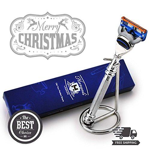 Designer Edelstahl Gillette Fusion kompatibel Shaving Rasierer und Edelstahl Ständer Combo–Pflege & Shaving Luxus Auswahl–Geschenk für ihn (10 Combo Pack Kompatibel)