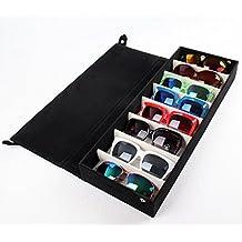 Beddingleer Almacenamiento de gafas / Caja de Vitrina Almacenamiento / Cajas para 8 gafas del sol / Caja de Almacenaje Multipe Función Soporte Organizador - Negro