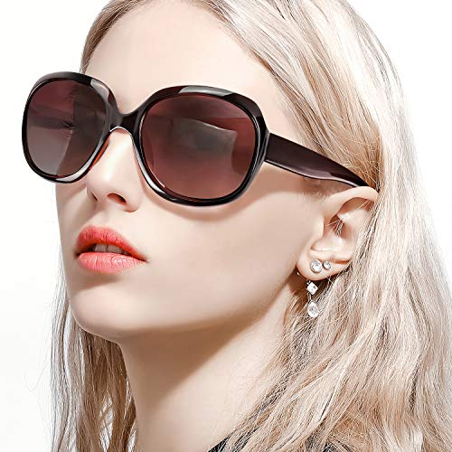 FIMILU Gafas De Sol Extragrandes para Mujer,Lentes UV400 Polarizadas Vintage, Gafas de Sol Clásicas (Marrón)