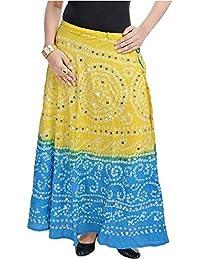 Creative StudioWomen Mirror Work Bandhej Rajasthani Cotton Skirt(Lemon Turquoise)(SMSKT532)