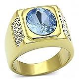 ISADY - Harper Gold Edelstahl - Herren-Ring - Edelstahl und 585er 14K Gold platiert - Zirkonium Blau - T 60 (19.1)