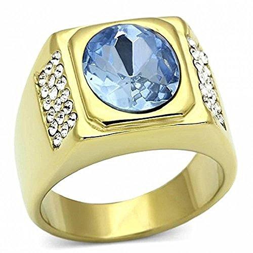ISADY - Harper Gold Edelstahl - Herren-Ring - Edelstahl und 585er 14K Gold platiert - Zirkonium Blau - T 67 (21.3)