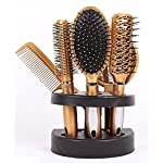 Salon Styler 5 Piece Hair Care Hair Brush Gift Set With Mirror & Stand (Gold)
