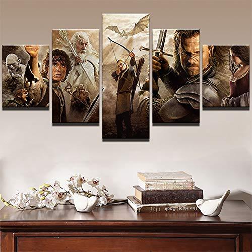 st HD-Druck 5 Panel Herr der Ringe Film Charaktere Bilder Zuhause Dekoration Poster Malerei,A,30×50×2+30×70×2+30×80×1 ()