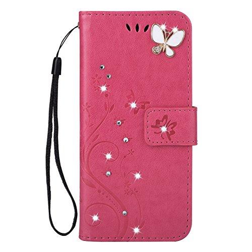 lle Retro Schön Schmetterling Blume Schutzhülle für Mädchen Brieftasche Ledertasche Bling Glänzend Glitzer Diamant Handyhülle Etui Kompatibel mit Samsung Galaxy S4 - Rose rot ()