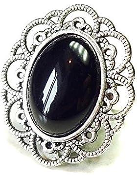 Antiker Silberfarbener Filigraner Ring mit Halbedelstein schwarzem Onyx – verstellbar