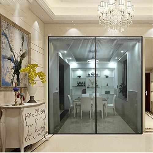 Ablea Magnetischer Türvorhang mit Glasfaser Meterial Insektenschutz für Balkontür, Klebemontage Ohne Bohren, Fliegengitter Magnetvorhang für Türen,Gray,160x200cm
