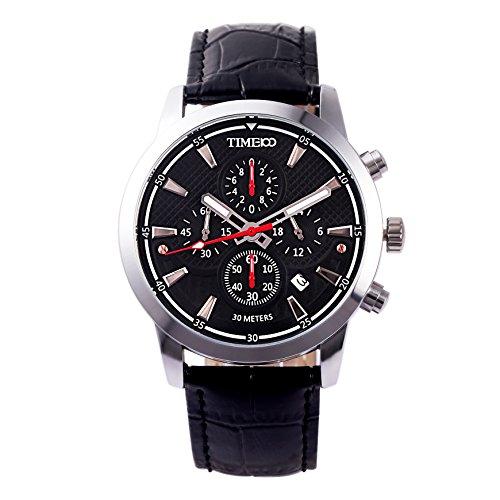 Time100 orologio da uomo sportivo e multifonzionale al quarzo water resistant cinturino in pelle