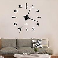 Mute DIY Reloj de pared sin marco espejo grande 3D Sticker (Negro)