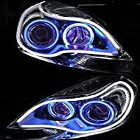 HopeU5® 2x coche LED luz de marcha diurna Universal 30CM doble color de tubo guía suave y flexible coche LED tira luz impermeable DRL luz de giro