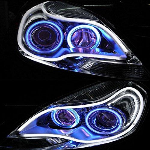Preisvergleich Produktbild HopeU5® 2x 85cm Einfarbige Stück Auto Stil Schlauch 12V DC Weiß-Gelb Switchback Scheinwerfer LED Auto Streifen Licht DRL Tagfahrlicht