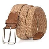 2017 Colores calientes Hombres Mujeres Casual Cinturón de punto Lona tejida Elástico Estiramiento Correa lisa Metal Thingsom-UKLEATher-MEN-Belt-GZ1211 Hebilla Negro