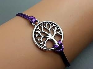 ruban vie arbre bracelet de charme de bracelet violet cordon de cire bracelet de bijoux 2374R