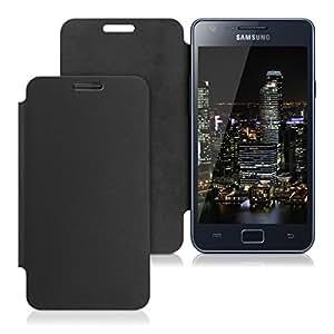 kwmobile Flip Case Hülle für Samsung Galaxy S2 - Aufklappbare Schutzhülle Tasche im Flip Cover Style in Schwarz