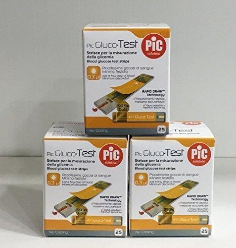 3 x pic gluco test - 75 strisce per il controllo della glicemia