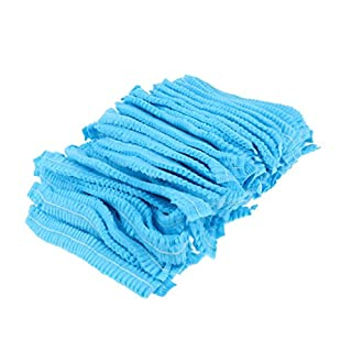 Sharplace 100 x Disposable Caps Grade Hair Head Cover Net Food Safe Blue White - Blue 1 Elastic Band, as Described