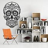 """Vinilo de cráneo woooowltd fretboardhfs etiqueta de la pared decoración de la pared decoración para pared decoración murales, vinilo, B5, 46""""hx70""""w"""