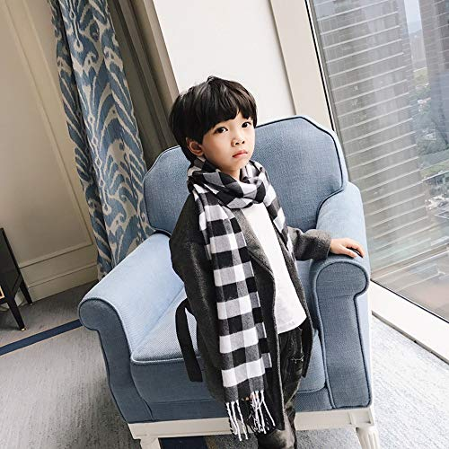 LMSHM Écharpe d'hiver pour Enfants in Autumn and Winter,The Children's Lattice Scarf and Scarf are Changing Their Shawls,Black and White Lattices,160Cm