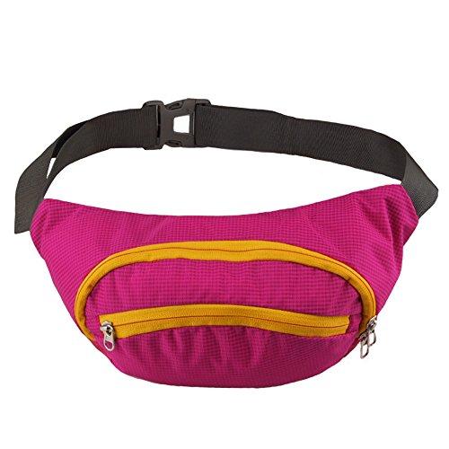 Wasserdichtem Hüfttasche Nylon Gürteltasche Laufklettersport Band Zip Bum Tasche Rosa