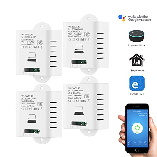 Interruttore intelligente wireless fai-da-te, modulo elettrico mini telecomando wireless ABEDOE compatibile con Alexa e Google Home (Pack of 4X)