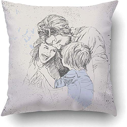 a9c6fa1ed69e AHENANY Throw Pillow Covers Baby Sketch of Happy Family Parents and  Children Concept Love Birthday Cartoon 18 x 18 Inch Square with Hidden  Zipper ...