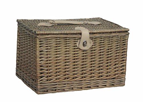 Red Hamper Unisex Antique Wash Finish Rectangle Picnic Basket, Brown, Large