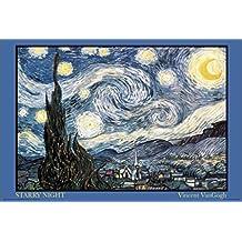 Póster de Papel de Arte de Noche Estrellada de Vicent Van Gogh, Mide 91.5 x 61cm