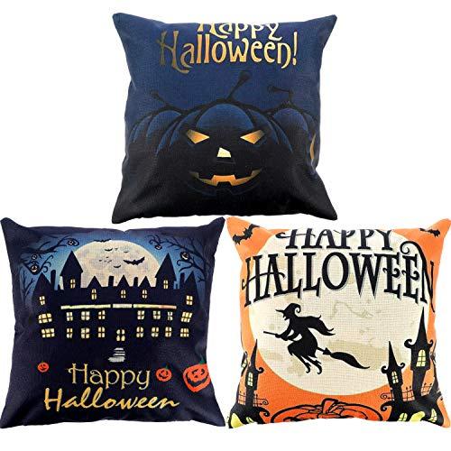 y Halloween Kissen Fall Leinen Kissenhülle mit Mond Fledermaus Katze Hexe Kürbis Elements, 18von 45,7cm ()