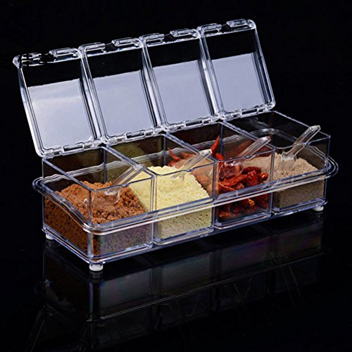Ruon Deals Transparet Acrylic Seasoning Box Case Condiment Bottles Set...