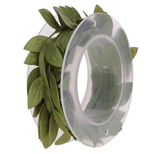 Gazechimp Polyester Satin Blatt Blätter Girlande Bänder Trimmt Spitzenborte Spitzenband Für Dekoration - Grün