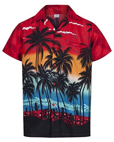 - Herren Hawaiihemd - kurzärmelig - Palmenmotiv - Verkleidung Junggesellenabschied - alle Größen - Rot - XXXL ()