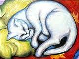 Poster 40 x 30 cm: Die weiße Katze von Franz Marc - hochwertiger Kunstdruck, Kunstposter
