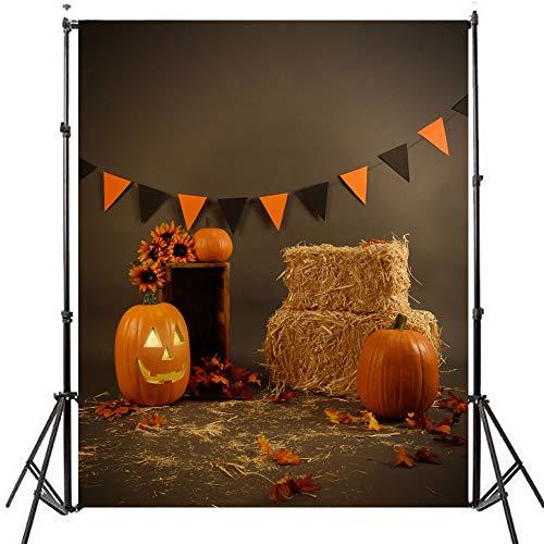 AFUT 5 x 7FT Fotografie Hintergrund Klassische Halloween Stil Kürbis Lichter und Stroh Fotografie Studio Requisiten Kulisse