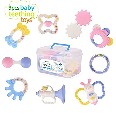 Ensemble de jouet de dentition de bébé, Hosim 9pcs BPA libre naturel Natural hochet jouets de dentition pour bébé, nourrissons, tout-petits-apaisant, doux, durable et congélateur coffre-fort, grand cadeau pour nouveau-né, ABS sain dans la boîte de stockage