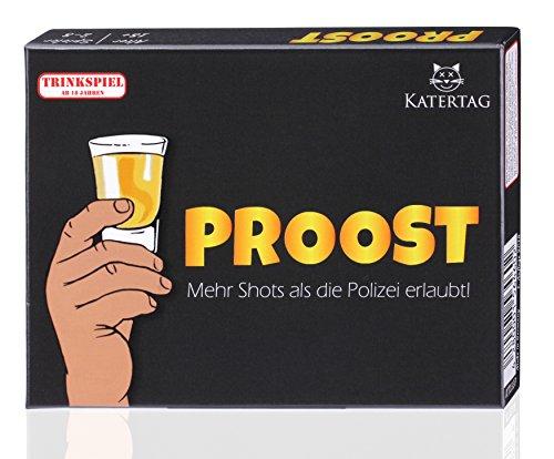 Katertag Trinkspiel - PROOST - Mehr Shots als die Polizei erlaubt - Partyspiel für Erwachsene ab 18 - Kartenspiel - Spiele Geschenk-Idee für Männer und Frauen - Party Zubehör zum Geburtstag (Geburtstag Coole Party-ideen)