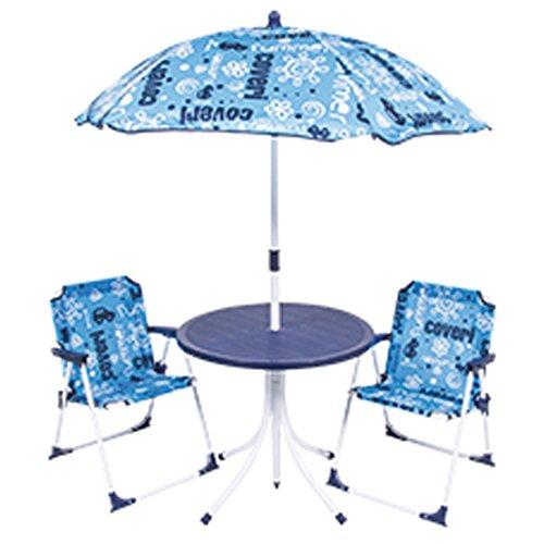Bakaji set tavolo con ombrellone e 2 sedie pieghevoli per bambini in acciaio e tessuto oxford esterno giardino (blu)