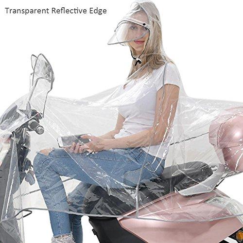 Regenkleidung Motorrad Transparent Regenponcho Regenmantel Wasserdichte Regenjacke EVA Fahrrad Raincoat Regencape für Männer & Frauen(Grau Line, XL)