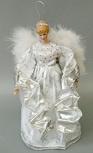 Cosette Weihnachten Engel Weihnachtsbaumspitze Dekoration Weiß Silber Kleid Flügel Bauschige Ärmel (Engel-flügel-Ärmel)