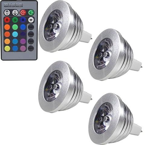 4x MENGS® MR16 RGB Lampe à LED 3W DC 12V + Télécommande IR