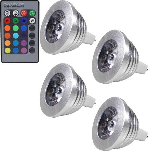 3 Stück Mr16 Led (MENGS® 4 Stück MR16 3W LED RGB Lampe Birne & Leuchtmittel SMD LEDs LED farbwechsel Licht Leuchtmittel mit IR-Fernbedienung(180lm, DC 12V, 50 x 53mm) - multicolor dimmbar inklusive Infrarot-Ferbedienung)