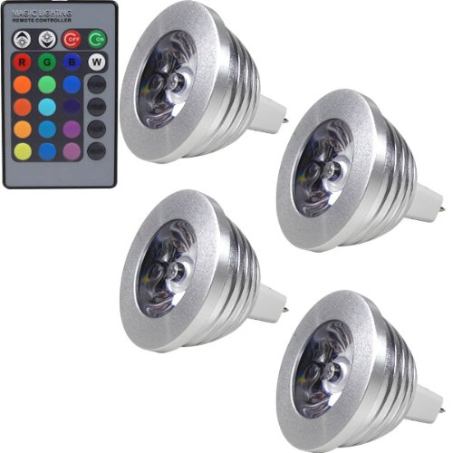g 53 led MENGS® 4 Stück MR16 3W LED RGB Lampe Birne & Leuchtmittel SMD LEDs LED farbwechsel Licht Leuchtmittel mit IR-Fernbedienung(180lm, DC 12V, 50 x 53mm) - multicolor dimmbar inklusive Infrarot-Ferbedienung