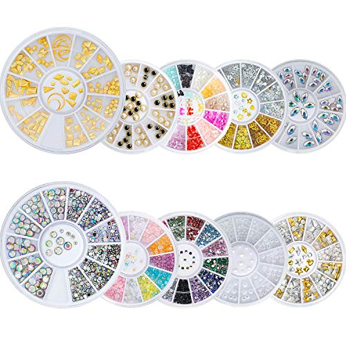 Czemo Nagel Steine Set 10 Boxen 3D Nagel Kunst Dekorationen Nagelkunst Strasssteine Bunte Mix Größe Nagel Perlen Nail Art Strass